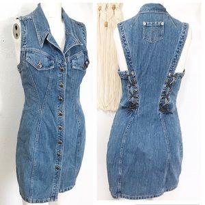 Vintage Parasuco Jean Bodycon Lace Up Button Dress